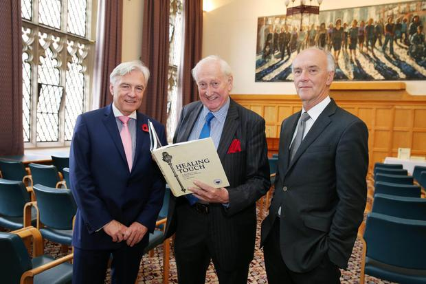 Dr Len O'Hagan, chairman of the Royal College of Physicians of Ireland, Alf McCreary and Professor John Crowe, former President of the RCPI, at the launch of Alf's new book at the Canada Room in Queen's University yesterday