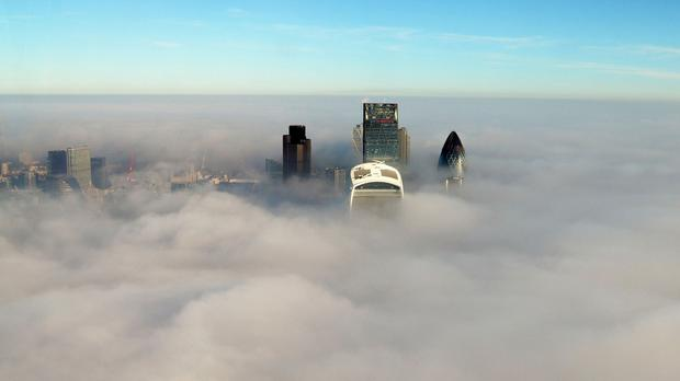 Low-lying fog over London seen from The Shard viewing gallery