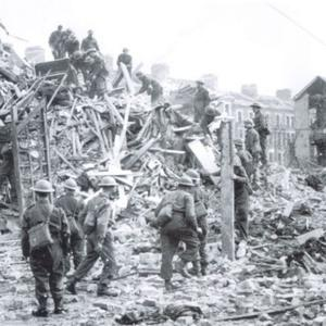 Soldiers see at first hand the devastation wrought on Duncairn Gardens by the Luftwaffe