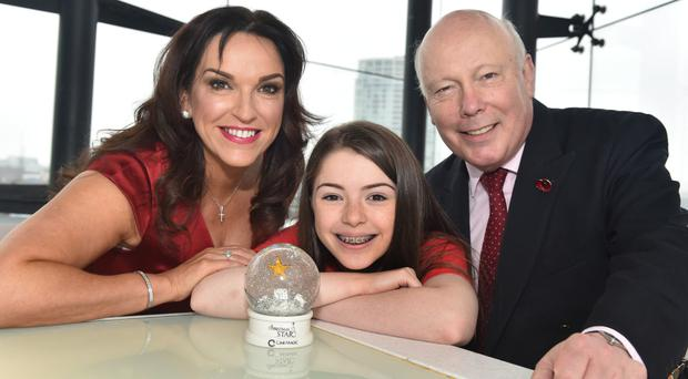 Erin Galway-Kendrick with Lord Julian Fellowes and Joan Burney Keatings of Cinemagic, the film charity behind Yuletide film 'A Christmas Star' which premiered in Belfast yesterday