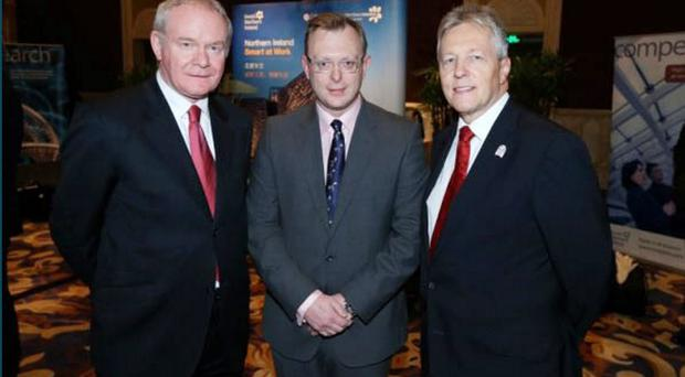 Ian Coulter (centre) with Martin McGuinness (left) and Peter Robinson