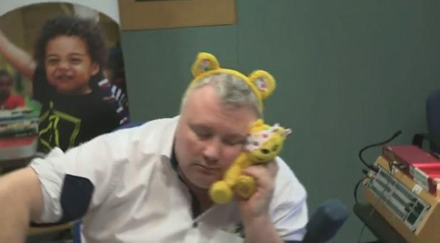 Stephen Nolan takes part in a Children in Need fundraising video