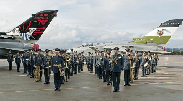 In formation: members of the Royal Air Force Band