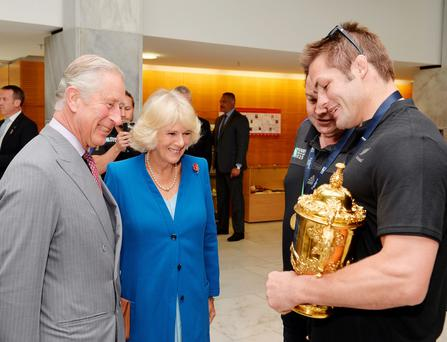 Prince Charles and the Duchess of Cornwall talk to All Blacks captain Richie McCaw