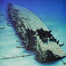 The wreck of the Britannic lies on the ocean bed