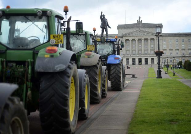 Dairy farmers staged a protest at Stormont back in July