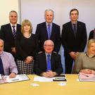 The team of judges were (front row from left) David Little, Professor Alastair Adair, Arlene Elliott and (back row) Derek Wilson, Nicola McCrudden, John Armstrong, Daryl McIntosh and Dr Jenny Muir