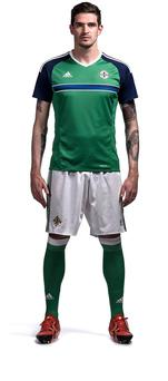 Northern Ireland striker Kyle Lafferty models the new-look shirt
