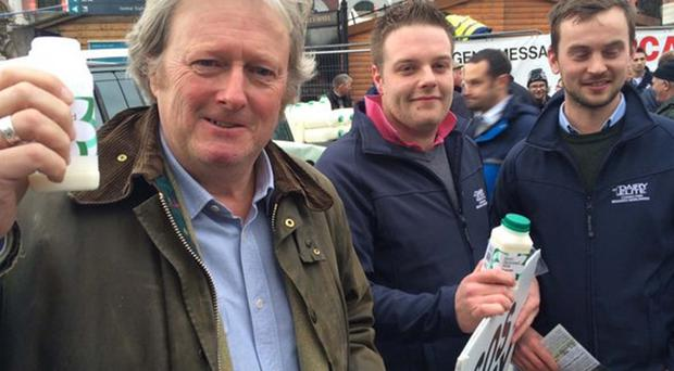 Actor Charlie Lawson at the protest in Belfast yesterday