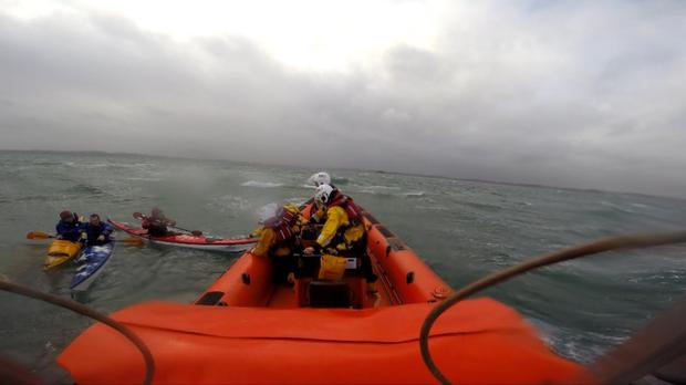 RNLI footage of the rescue of the kayakers on Strangford Lough