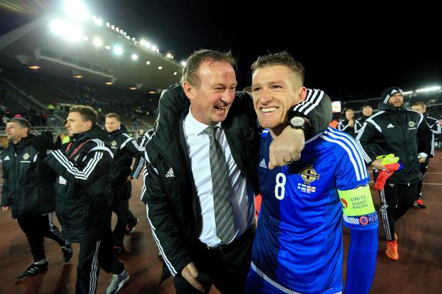 Northern Ireland manager Michael O'Neill and captain Steven Davis