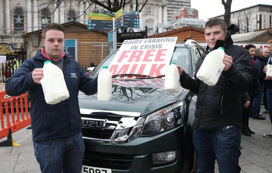 Johnny Matthews and Eamon Mulholland at the Fair Price Farming NI protest at City Hall earlier this week
