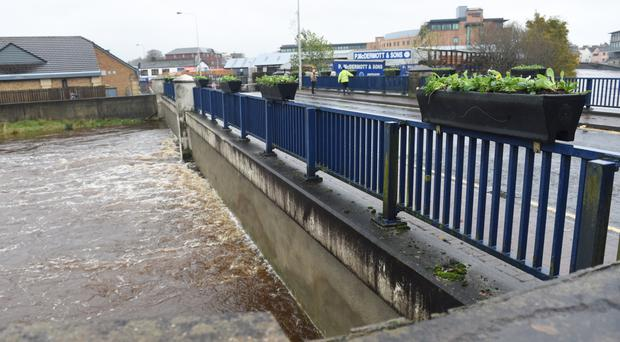 The rising river at Abbey bridge in Omagh