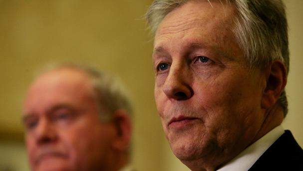 First Minister Peter Robinson (right) speaks alongside Deputy First Minister Martin McGuinness at Stormont Castle in Belfast, after a deal to salvage Northern Ireland's crisis-hit power-sharing administration was announced.