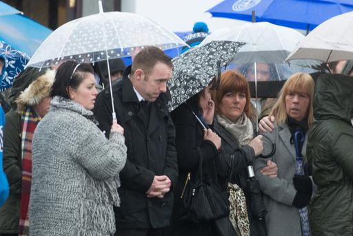 Mourners at the funeral of Kevin Barry McClintock at St Joseph's Church yesterday
