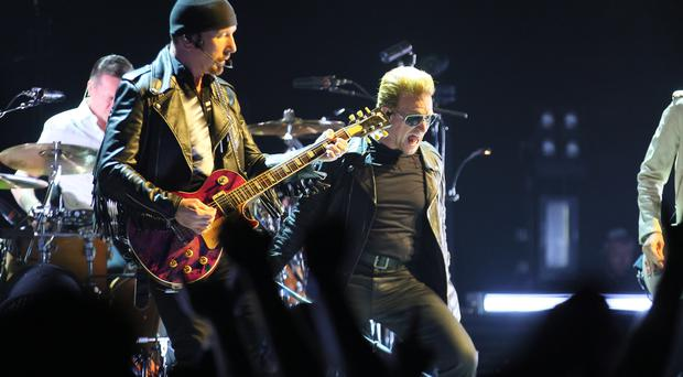 Bono in typically animated form as U2 perform at Belfast's SSE Arena