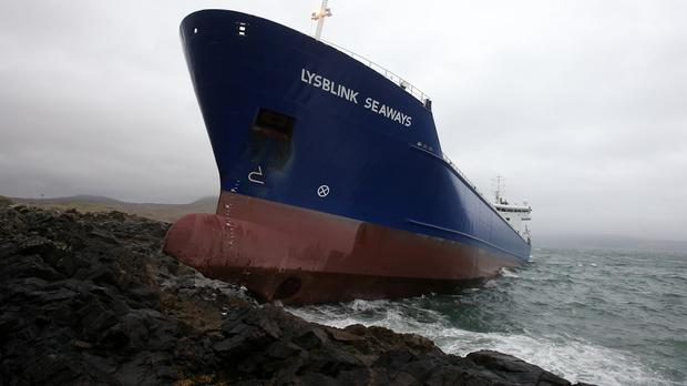 The Lysblink Seaways vessel was travelling from Belfast to Norway when it became stuck off the coast near Kilchoan in the Ardnamurchan peninsula in Scotland on February 18