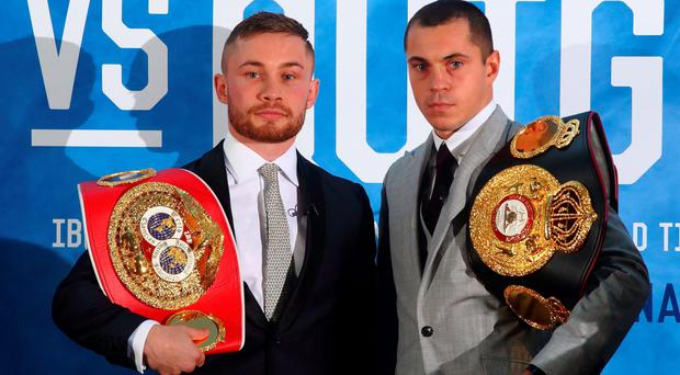 Carl Frampton and Scott Quigg during a Press conference at the Europa Hotel, Belfast
