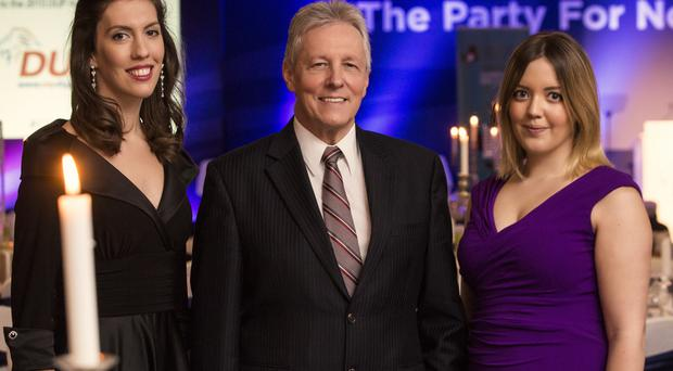 Soprano Sinéad O'Kelly (right) with Mezzo Soprano Dawn Burns and First Minister Peter Robinson last night