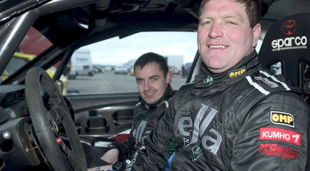 Cookstown's Glenn Allen (front) with co-driver Damien Connolly