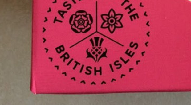 The packaging for the range includes three emblems - a rose, a daffodil and a thistle - representing England, Wales and Scotland. But there is nothing on the label which represents Northern Ireland