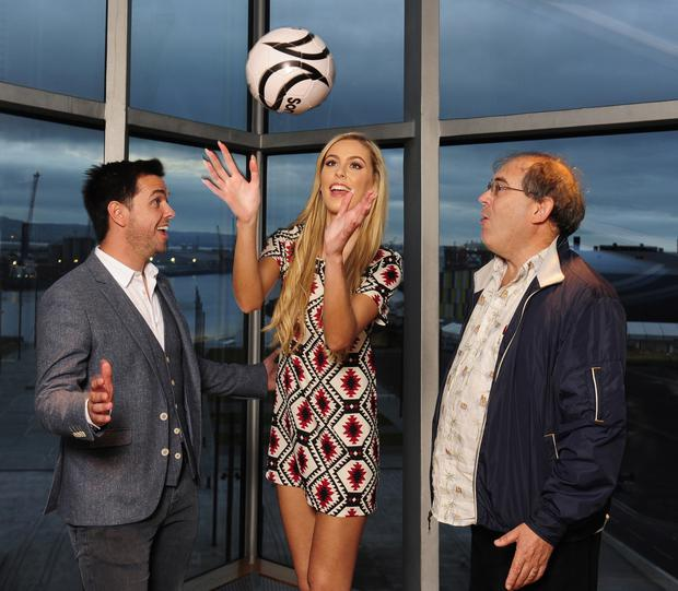 Radio presenter Pete Snodden (left), Miss Ireland Sacha Livingstone and director John Paul Davidson at a crowdfunding event for the movie
