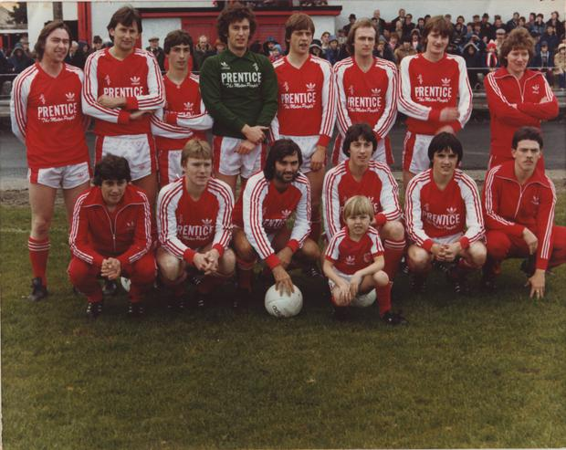 George Best with the Portadown football team and mascot before they played Glenavon in 1981