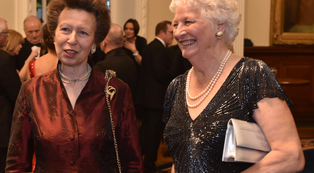 Princess Anne talks to Dame Mary Peters during a reception at her trust's 40th anniversary celebrations