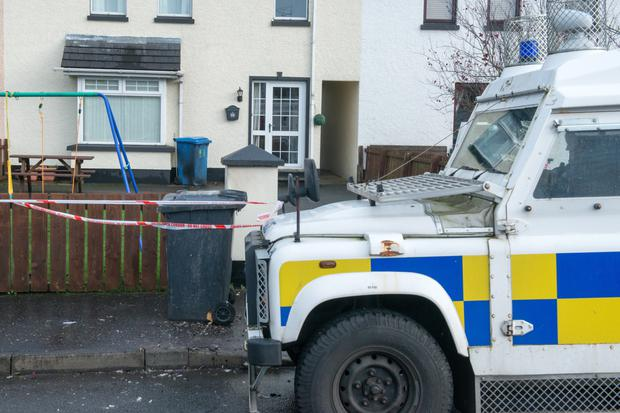 The scene in Ard Na Smoll, Dungiven, where a pipe bomb was left at the front of a house