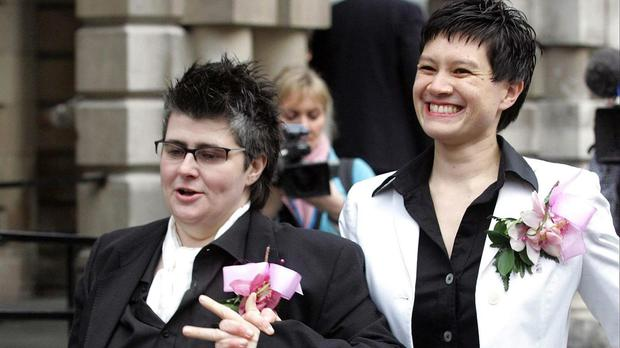Grainne Close, left, and Shannon Sickles and another couple won permission to judicially review the Assembly's repeated refusal to legislate for same-sex marriage