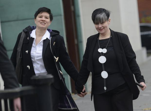 Grainne Close and Shannon Sickles arrive at Belfast High Court