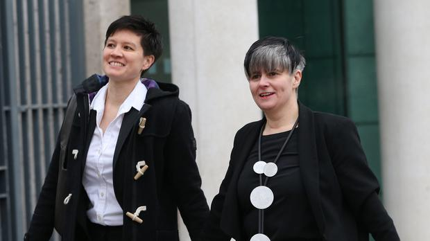 Shannon Sickles, left, and Grainne Close say the prohibition on same sex marriage breaches their human rights