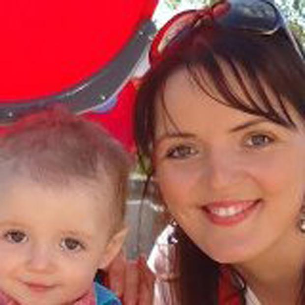 Katriona Cox with her son Ryan, who died in crash aged 19 months in January 2013