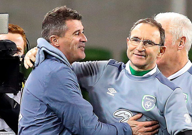 Republic of Ireland coach Martin O'Neill is congratulated by his assistant Roy Keane after securing qualification