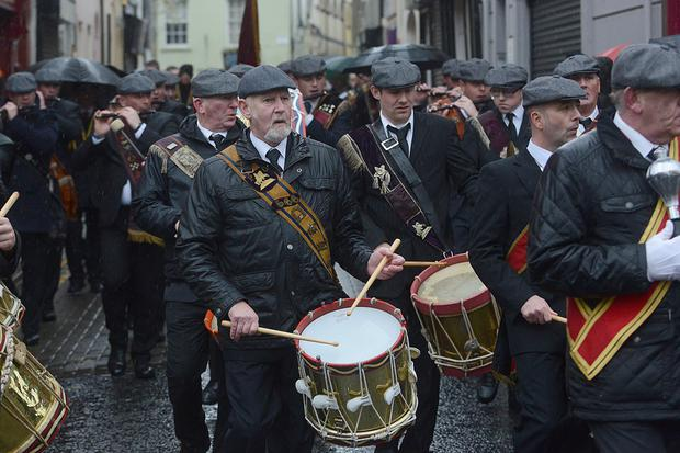 Members of the Auld Orange Flute Band who took part in the Apprentice Boys of Derry Lundy's Day annual parade on Saturday