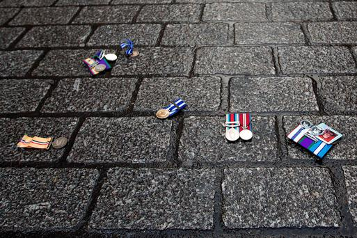 Medals discarded by veterans objecting to the intervention in the Syria