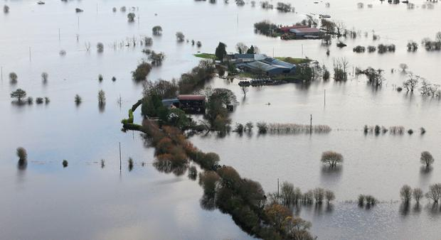 Flooded fields and roads near Athlone, Co Westmeath