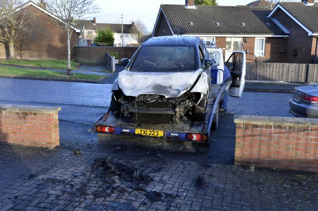 The car gutted in the petrol bomb attack