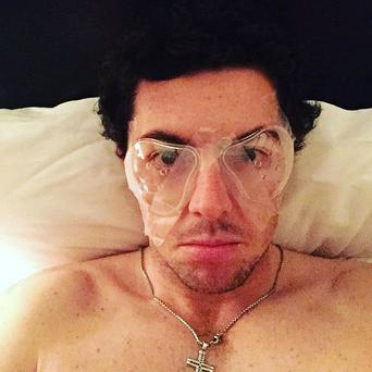 Rory wears eye protectors after his operation