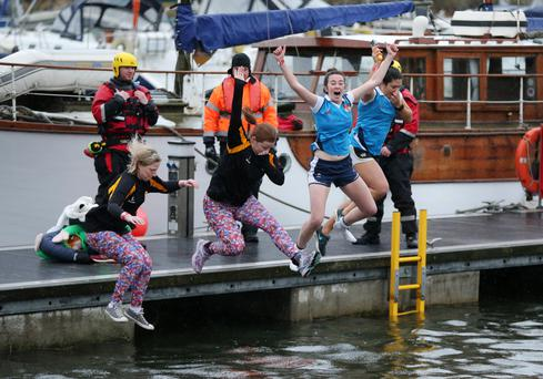 Some of the plucky plungers at Belfast Marina in aid of Special Olympics Ulster