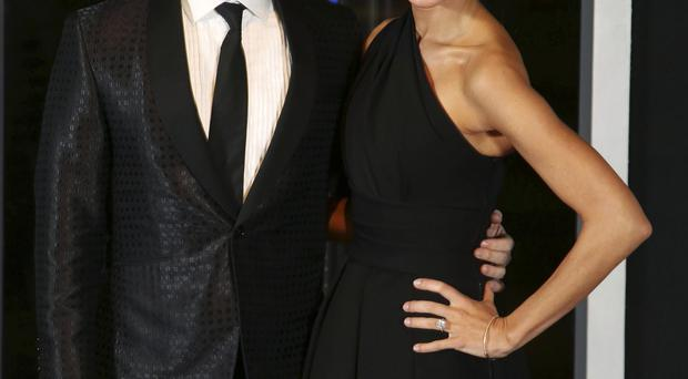 Erica Stoll shows off her impressive engagement ring at a function in Belfast with fiance Rory