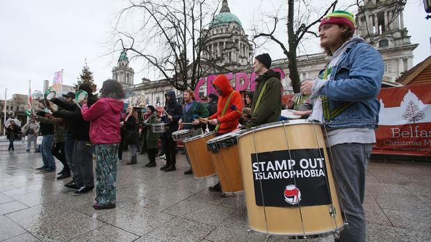 A pro-refugee counter demonstration, as a group called the Protestant coalition held an anti-refugee protest in Belfast city centre earlier this month
