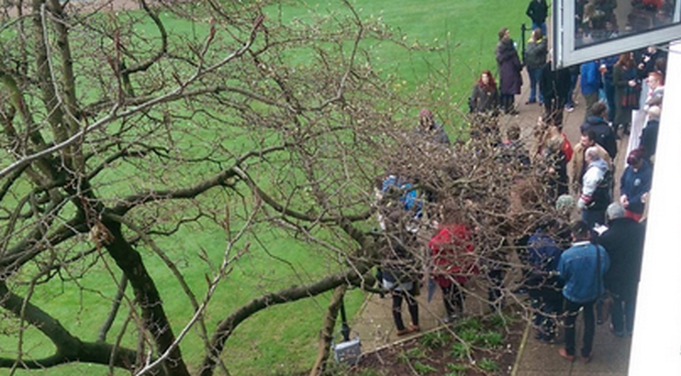 A photo of protesting students at Queen's University yesterday, tweeted by Fossil Free QUB campaigners