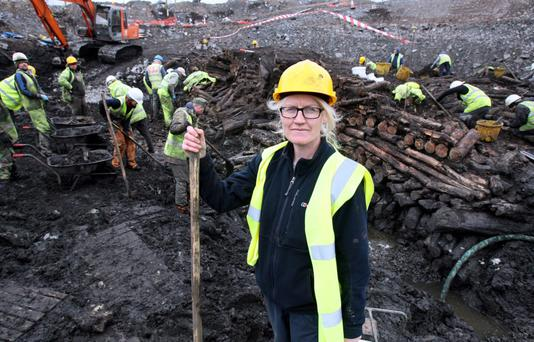 Excavation director Dr Nora Bermingham beside a cross-section of the crannog site