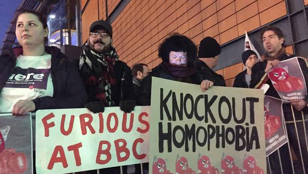 Gay rights campaigners outside Belfast's SSE arena ahead of the BBC Sports Personality of the Year awards