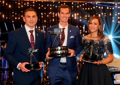 Winner of 2015 Sports Personality of the Year Andy Murray with runners-up Kevin Sinfield and Jessica Ennis-Hill