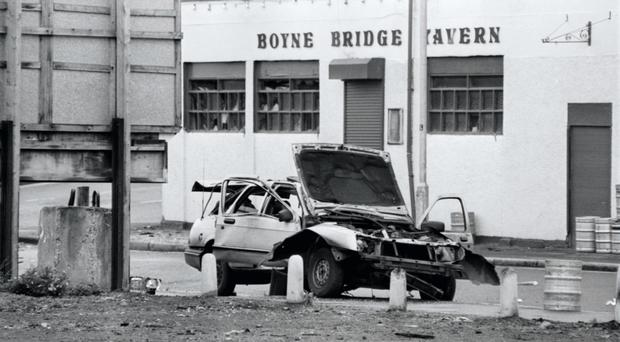 Scene of the car bomb in 1991 in which Alex Bunting was injured