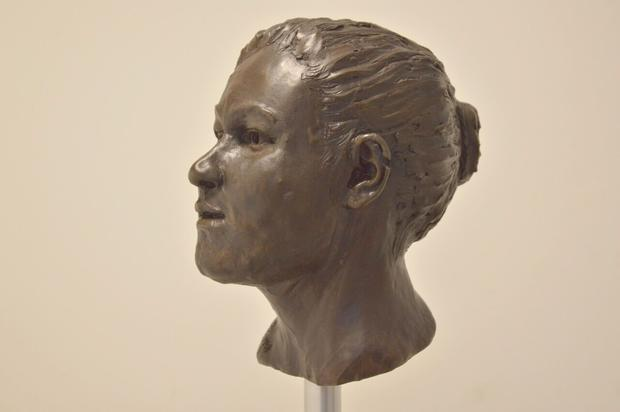 A reconstruction of what the woman would have looked like based on the dimensions of the skull