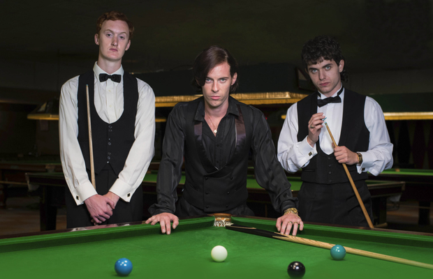Steve Davis (Will Merrick), Alex Higgins(Luke Treadaway) and Jimmy White (James Bailey) in the new drama The Rack Pack