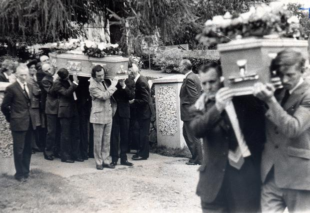 The funerals of Tullyvallen Orange Hall victims James and Ronald McKee in 1975